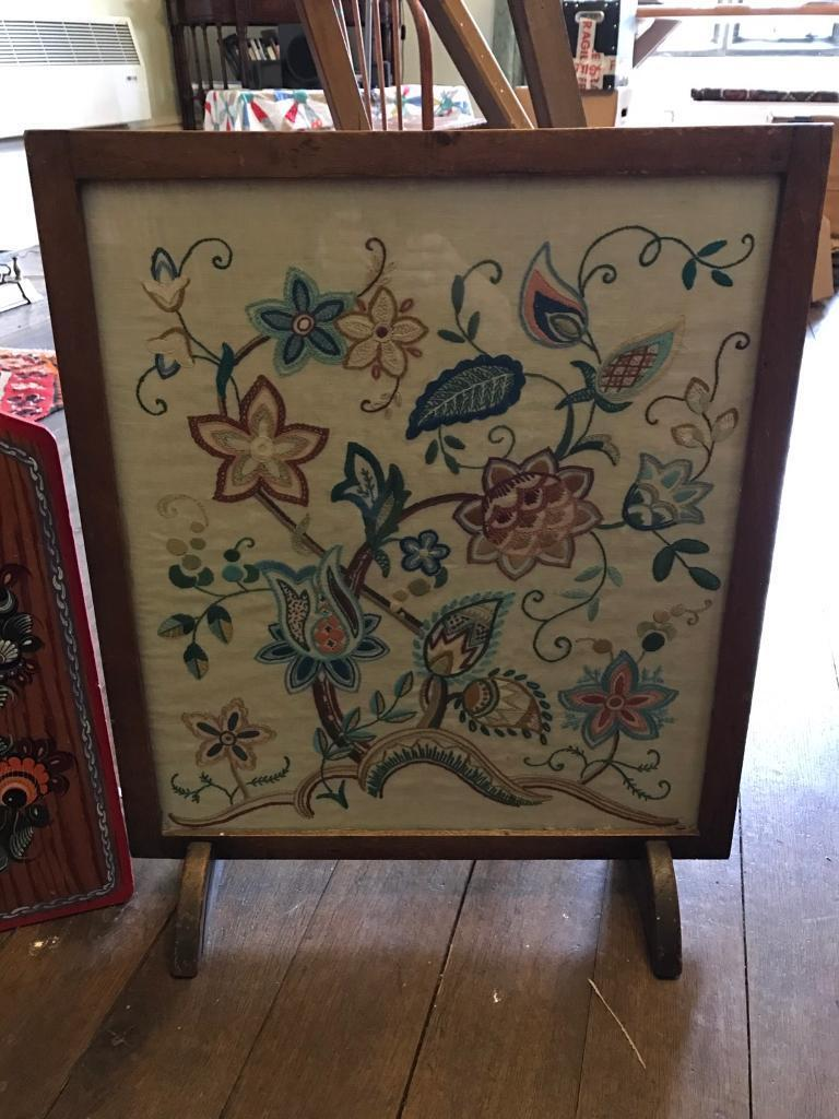 Hardwood fire screen Jacobean style embroidery