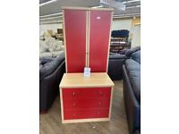 Wardrobe and drawers set in red
