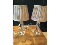 Matching glass lamp bases with matching lampshades