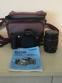 Canon EOS 500 with carry case and lens