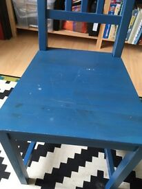 2x blue wooden chairs