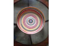 Large Habitat fruit bowl, modern design, multicoloured with irregular stripes, perfect condition