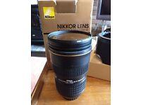 Nikon Nikkor G ED 24-70mm f/2.8 AF-S Lens with protector filter