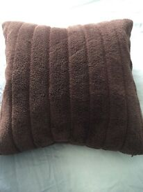 Habitat feather chocolate brown furry cushion