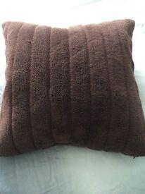 Habitat feather chocolate brown furry cushion