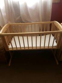 Baby cot bed and moses basket