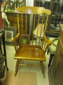 VINTAGE ORNATE SPINDLE BACK, WIDE SEATED PINE ROCKING CHAIR. VIEWING/DELIVERY AVAILABLE