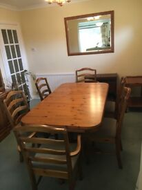 Ducal dinning table and six chairs.