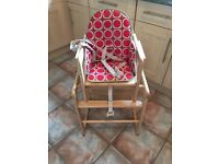 Solid Wood Convertible High Chair,
