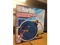 Air hose/compressor. Unopened . Clarke air, 15 metre retractable air hose reel. Ratchet hose release
