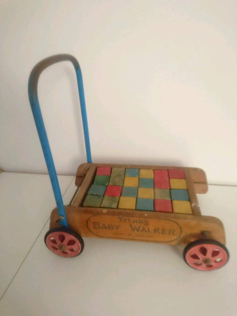 Vintage Wooden Toy Blocks In Truck Tri Ang Trolley Push