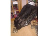 Mini city double, pram,buggy,stroller. From birth. Rain cover and footmuffs