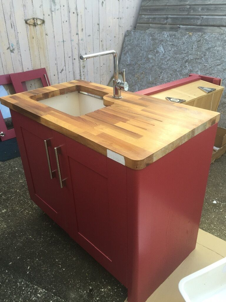 Wickes Kitchen Furniture Wickes Kitchen Wall Unit Oak Top With Sink Aubergine Finish