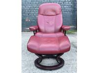 STUNNING EKORNES STRESSLESS CHAIR & FOOTSTOOL IN RED LEATHER