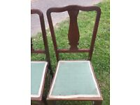 x3 vintage oak chairs bedroom hall dining