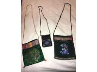 3 embroidered Oriental Chinese Tibetan handbags purses