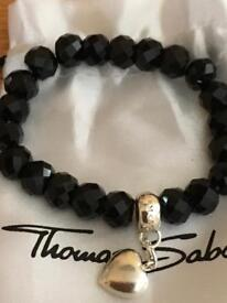 Genuine Thomas Sabo. Black onyx bracelet with a heart charm