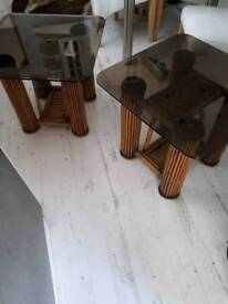 SET OF 2 CHUNKY CANE DARK GLASS SIDE TABLES