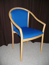 2x Comfortable Wooden Armchair Blue Upholstery. Excellent clean condition!