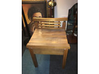 Nice Looking Rustic Hardwood Side Table / Bedside Table with Drawer