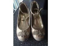 Girls gold diamonte shoes size 10