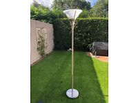 Floor lamp with brushed chrome base and glass shade.