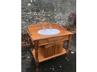 Pine vanity unit washstand and basin