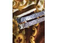 Louis Vuitton LV leather black brown Damier belt