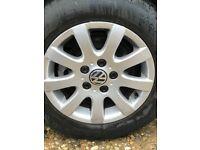 VW GOLF MK5 1.6 FSI '05 ALLOY WHEELS WITH TYRES 195/65 R15