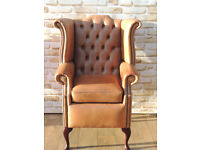 Queen Anne High back High seat Chesterfield Armchair Unique (Delivery)