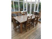 Ikea Solid Pine Dining Room Table and 6 Chairs