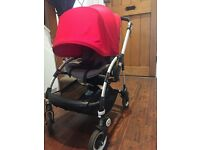 Bugaboo bee 3 with extendable hood,cocoon and universal foot muff in Red