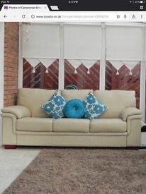 FREE Cream 3 + 2 seater leather sofas