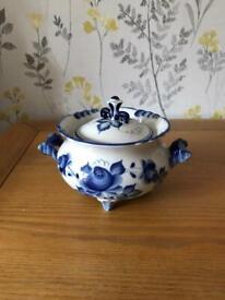 Genuine Gzhel porcelain sugar bowl