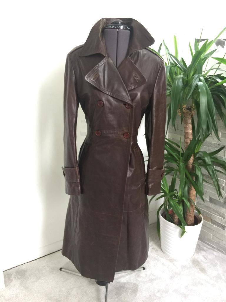 GENUINE BROWN LEATHER MILITARY STYLE JACKET COAT