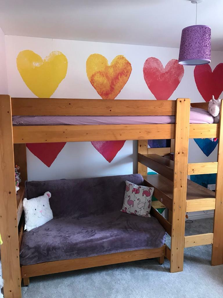 Pine Bunk Bed With Futon And Desk In Royal Wootton Bassett