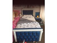 BLUE LEATHER SINGLE BED WITH MATTRESS