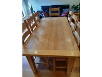 Solid beech kitchen dining table with 8 beech chairs 1800 x 900