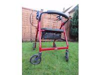 CareCo Lightweight foldable red rollator walker