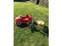Vintage Triang 'chubby car' and tricycle