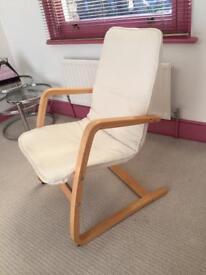Ikea wooden armchair x 2 - cream