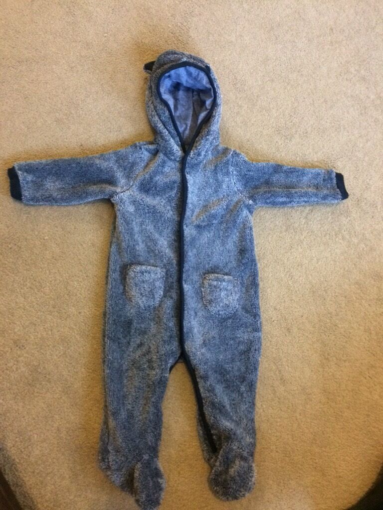 Baby boy 9-12 months fur all in one suit