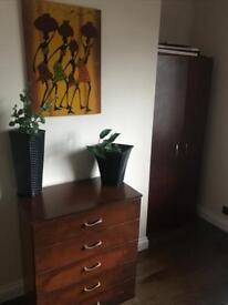 Dark Brown Wardrobe and Chest of Drawers Set
