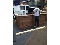 Portable bar, brand new. Wood venire on chipboard. Very strong. 3x2m