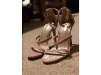 Miss Selfridge Pale Pink Velvet Heels