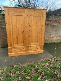 Solid pine large handmade wardrobe with 2 bottom drawers