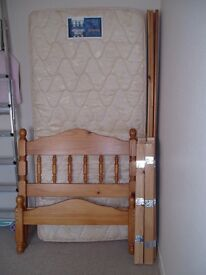 PINE SINGLE BED WITH A SILENTNIGHT DELUXE MATTRESS AND EXTRA BED SLATS