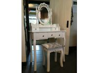 Large Chic White Dressing Table - NEW - French Dressing Table & Stool