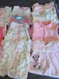 Bundle of 13 long sleeved sleep suits and bathrobe and slippers baby girl 3-6 months