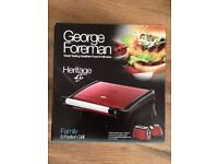 George Foreman family 5 portion grill, Heritage red. BRAND NEW & UNUSED